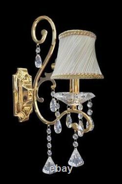 Crystal Wall Lamp K9 Crystal Wall Sconce Polished Gold Single Light Bulb