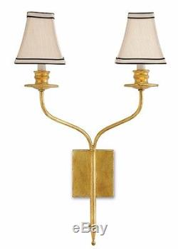 Currey and Company Antique Gold Leaf Highlight Wall Sconce
