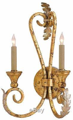 Currey and Company Orleans Traditional Gold & Silver Leaf Wall Sconce