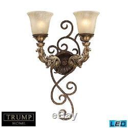ELK lighting Regency 2 Light LED Wall Sconce In Burnt Bronze And Gold Leaf