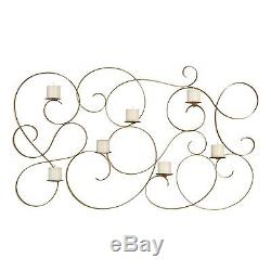 Elaborately Curled 58 Candle Plaque Sconce Gold Leaf 7 Iron Wall Sculpture