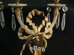 Elegant Pair of Antique 19th Century Gilded Gold Bronze Wall Sconces Top Quality