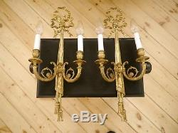 Empire french old 2 lights pair brass fine wall lamps sconces