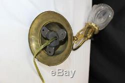 English Art Nouveau Brass Gas Wall Light, circa 1900 Converted Electric Lighting