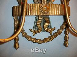 Exquisite Pair Large Italian Palladio Gold Leaf Wall Candle Sconces L@@k