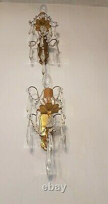 Fabulous Pair of Vintage French Brass Wall Lights with Crystal Swags & Rosettes