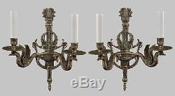 Figural Swan Bronze Pair of Wall Sconces c1930 Vintage Antique French Lights