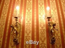 Fine Art Nouveau Big Brass Cherubs Pair Wall Lamps Sconces