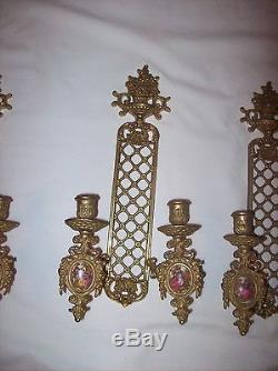 Four French Gilded Metal Bronze 2 Arm Candle Holder Wall Sconces