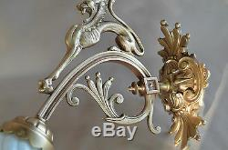 French Antique Gothic Chimera Gilded Bronze Wall Lamp Sconce Art Nouveau Griffin