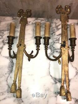 French Antique Pair Bronze Brass Wall Sconces Louis XVI Style
