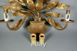 French Antique Tole Gold Leaves Wall Sconce Lamp Hollywood Glam Recency 1950s