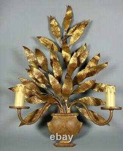 French Antique Tole Gold Leaves Wall Sconce Lamp Maison Bagues Style 1950s