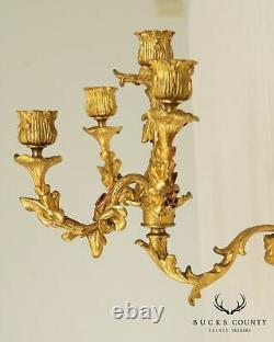 French Louis XV Style Antique Dore Bronze Pair Candle Holders Wall Sconces