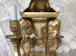 French Neoclassical Vintage Pair Dore Gilt Brass Bronze Wall Sconces