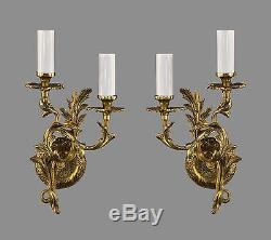 French Rococo Sconces c1950 TWO PAIRS AVAILABLE Vintage Antique Brass Gold Wall