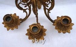 French Victorian Ormolu Engraved Brass 3 Arms Sconce Wall Light 19th C