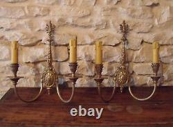 French Wall Double Lights x 2 Brass