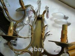 French a pair of awesome detailed antique wall light bronze brass crystals