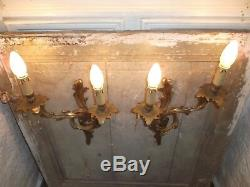 French a pair of dark patina bronze wall light sconces antique exquisite