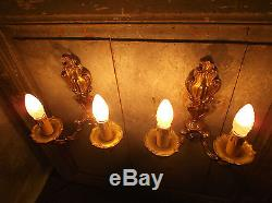 French a pair of exquisite ornate bronze wall light sconces gorgeous vintage