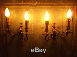 French a pair of gold bronze wall light sconces exquisite detailed vintage
