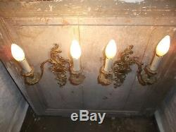 French a pair of gold bronze wall light sconces stunning detailed antique