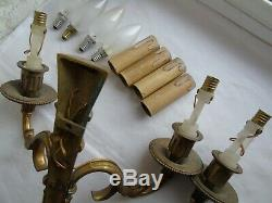 French a pair of patina bronze wall light sconces antique exquisite