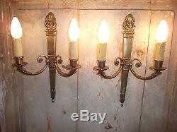 French a pair of patina bronze wall light sconces beautiful antique