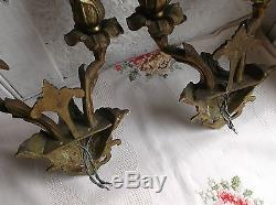 French a pair of patina gold bronze wall light sconces divine antique