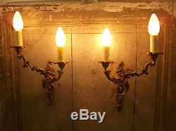 French a pair of patina gold bronze wall light sconces finely detailed vintage