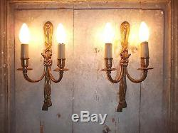 French a pair of patina gold bronze wall light sconces nicely antique