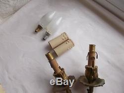 French a pair of patina gold ornate bronze wall light sconces antique