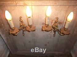 French a pair of patina gold ornate bronze wall light sconces vintage
