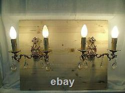 French a pair of vintage classic wall light bronze crystals