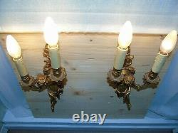 French a pair of wall light sconces cherubs gorgeous gold patina antique
