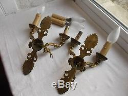French a pair of wall light sconces really gorgeous gold patina antique vintage