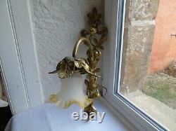French bronze antique wall light glass shade light yellow trim ruffled edge
