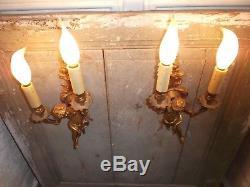 French fabulous antique vintage bronze pair sconces wall light ornate figures