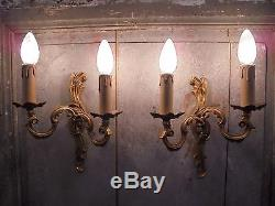 French vintage classically beautiful patina bronze wall light sconces a pair