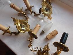 French vintage set of 3 sconces wall light gold bronze beautiful