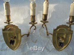 French wall light sconces a pair of bronze crystals fabulous style antique