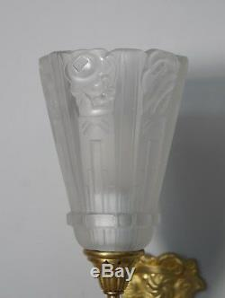 GILLEN & HANOTS PAIR FRENCH ART DECO WALL SCONCES. 1930 lights muller era 1925