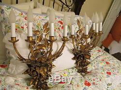 GORGEOUS PAIR VTG FRENCH gilt ROSES SCONCES 5 LIGHT chandelier wall CANDELABRAS