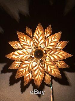 Gilded Brass Wall Sconce Flower Mid Century Modern 1970s
