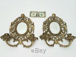 Glo-Mar French Rococo Style Sconce Wall Candle Holder Gold Tone Mirrored PAIR