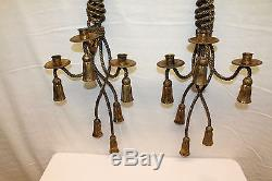 Gorgeous Pair of Decorative Italian Gilded Hanging Wall Lighting Sconces