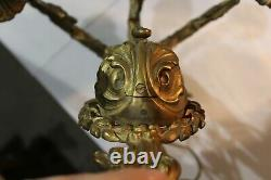 Great Large Antique Vintage Ornate 3 Arms Brass Wall Sconce Light Fixture