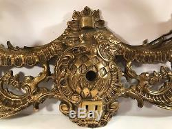 Heavy Antique Brass Vanity Wall 4 Light Fixture Sconce Made In Spain
