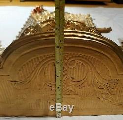 Hollywood Regency 7pc Lot Vtg Gold Wall Decor Shelves Frame Candle Sconces Ibis